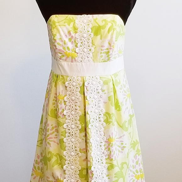 Lilly Pulitzer Jubilee Yellow Strapless Sh…
